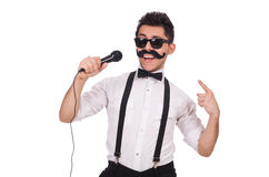 Funny man with mic isolated on white Stock Photography