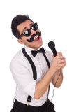 Funny man with mic Royalty Free Stock Image