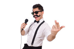 Funny man with mic Royalty Free Stock Photo