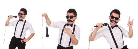 The funny man with mic isolated on white Stock Images