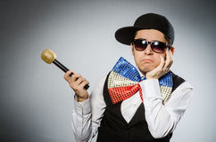 The funny man with mic in karaoke concept Royalty Free Stock Images
