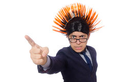 Funny man with mohawk hairstyle Stock Image