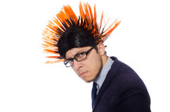 The funny man with mohawk hairstyle Royalty Free Stock Image