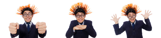 The funny man with mohawk hairstyle Stock Images