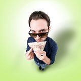 Funny man with money from above looking in camera Stock Photo