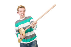 Funny man with mop Stock Photo