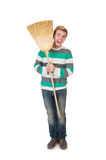 Funny man with mop Royalty Free Stock Photos