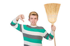 Funny man with mop Royalty Free Stock Images