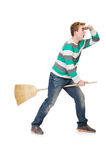 Funny man with mop Royalty Free Stock Image