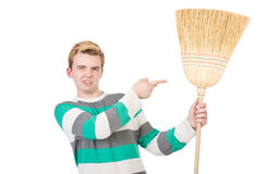 Funny man with mop Royalty Free Stock Photography