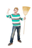 Funny man with mop Stock Images