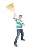 Funny man with mop Royalty Free Stock Photo