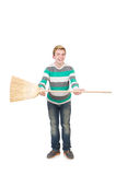 Funny man with mop Stock Photography