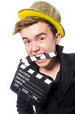 The funny man with movie clapboard. Funny man with movie clapboard Stock Images
