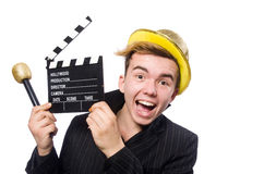 The funny man with movie clapboard. Funny man with movie clapboard Royalty Free Stock Photos