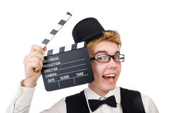 Funny man with movie Royalty Free Stock Image