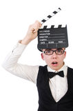 Funny man with movie clapper Royalty Free Stock Photo