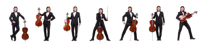 The funny man with music instrument on white. Funny man with music instrument on white royalty free stock images