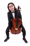 Funny man with music instrument Royalty Free Stock Image