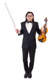 Funny man with music instrument Royalty Free Stock Photos