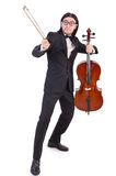 Funny man with music instrument on white Stock Photos