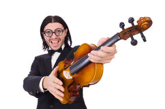 Funny man with music instrument on white Royalty Free Stock Image