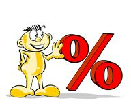 Funny man with percent symbol Stock Photo