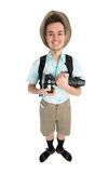 Funny man photographer with camera and backpack. Stock Photo