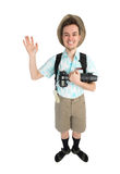 Funny man photographer with camera and backpack. Royalty Free Stock Photo