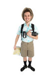 Funny man photographer with camera and backpack. Royalty Free Stock Photos