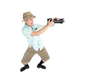 Funny man photographer making picture by camera. royalty free stock images