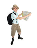 Funny man photographer with map and backpack. Stock Photography
