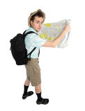 Funny man photographer with map and backpack. Royalty Free Stock Photography