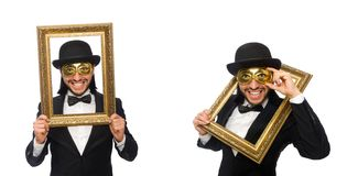 The funny man with picture frame on white. Funny man with picture frame on white stock photography