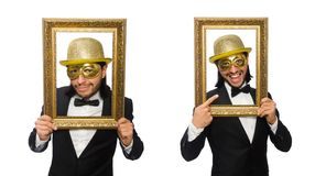 The funny man with picture frame on white. Funny man with picture frame on white stock images