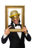 Funny man with picture frame on white Stock Image