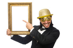 Funny man with picture frame on white Royalty Free Stock Image