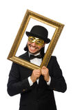 Funny man with picture frame on white Royalty Free Stock Photo