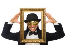 The funny man with picture frame on white Stock Image
