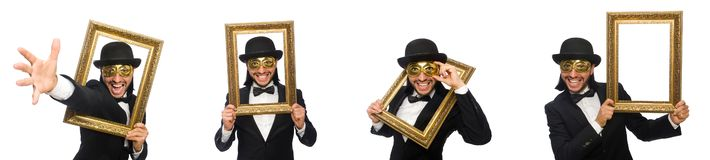The funny man with picture frame on white. Funny man with picture frame on white royalty free stock photography