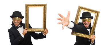 The funny man with picture frame on white. Funny man with picture frame on white stock image