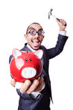 Funny man with piggybank Royalty Free Stock Images