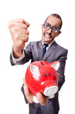 Funny man with piggybank Royalty Free Stock Photo
