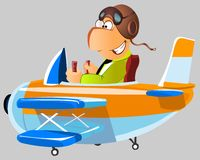 Funny man in a plane Stock Photo
