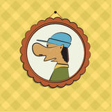 Funny man portrait. Cute character humor style image. Retro fram Stock Photography