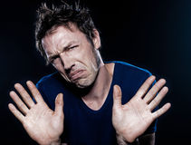 Funny Man Portrait frowning refusal Stock Photos