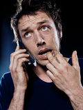Funny Man Portrait Phoning Royalty Free Stock Photo