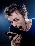 Funny Man Portrait phoning screaming Royalty Free Stock Photos