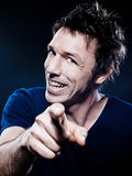 Funny Man Portrait pointing cheerful Stock Photo