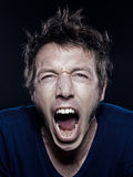 Funny Man Portrait screaming Stock Photo